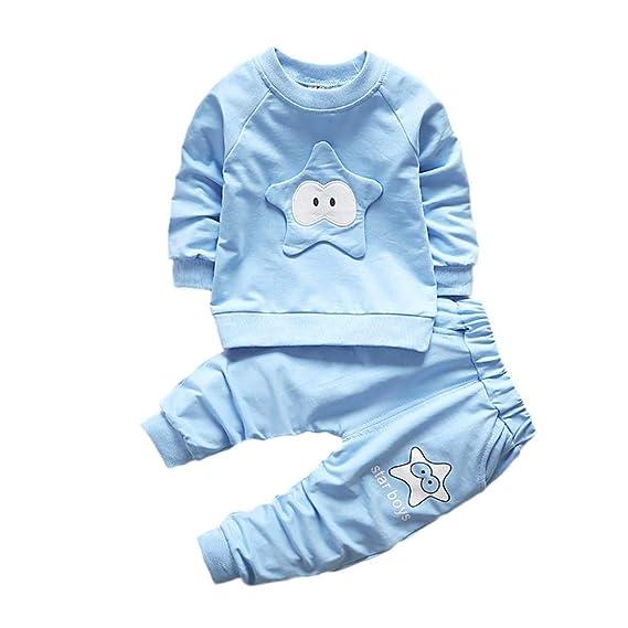 Logobeing Ropa de Bebé Niño Niña Animales 2 Piezas Camiseta de Manga Larga + Pantalones Conjunto