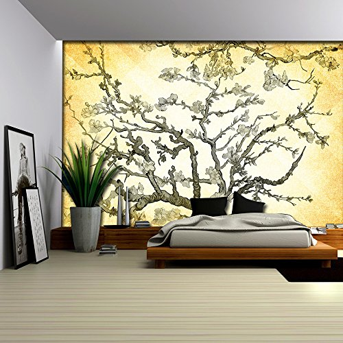 Copper Almond Blossom Painting by Vincent Van Gogh on a Golden Yellow Vignette Background Wall Mural