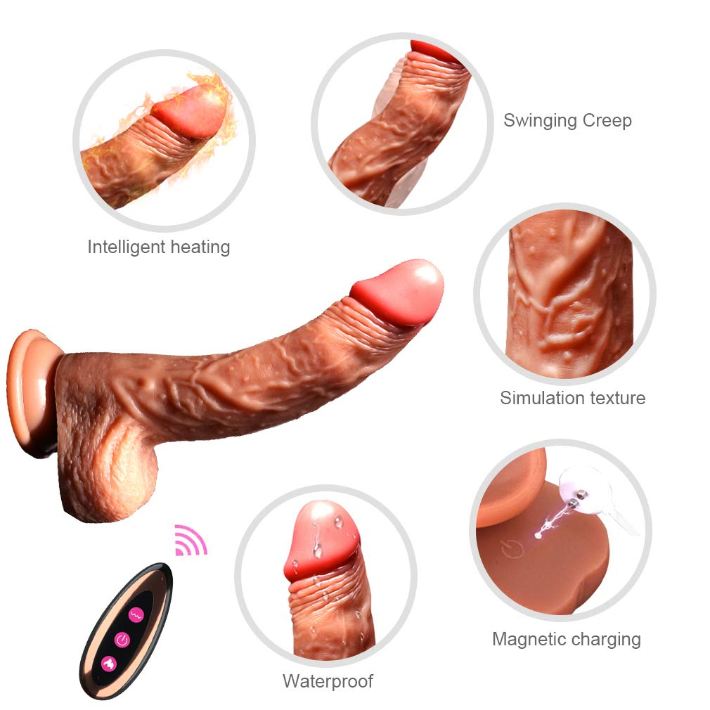 Realistic Dildo Dual Density Soft for Vaginal Insertion Anal Play, Eletric Dildo 8 Inch with Strong Suction Cup for Hands Free Fun, Tshirt