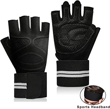 Weight-Lifting Gloves Mens Womens Bodybuilding Fitness Wrist Wrap Gym Training @