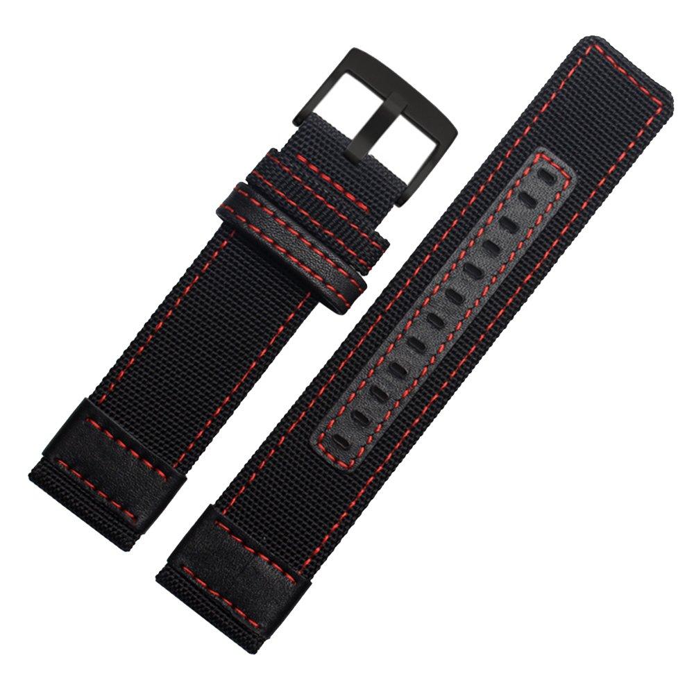 7色キャンバス時計バンドストラップ22 mm、24 mmの汎用for Jeep jp612 jp15201 jpc312スタイル 22mm black band red sew black buckle B077SFZVRT 22mm|black band red sew black buckle black band red sew black buckle 22mm