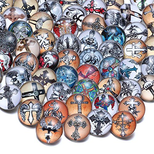 50pcs/lot Mixed Holy Saint Cross Theme Glass Charms 18mm Ginger Snap Button For 20mm Snap Bracelet Snap Jewelry KZHM073 (KZHM073)