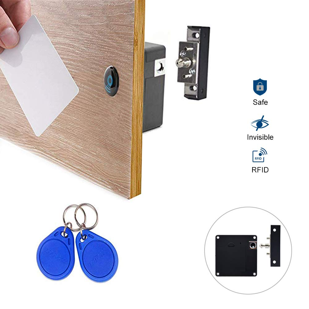 [2 pack] Gexmil Electronic Cabinet RFID Lock Kit Set, Hidden DIY Lock for Wooden Cabinet Drawer Locker, RFID Card/Tag Entry by Gexmil