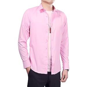 InnoBase ワイシャツ メンズ シャツ 長袖 半袖 ボタンダウンシャツ ビジネス 形態安定 オックスフォード Yシャツ ドレスシャツ フォーマル カジュアル 綿 春 秋 無地 細身 多色選択 おしゃれ イージーケア トップス (3XL, ピンク(ワイドカラー))