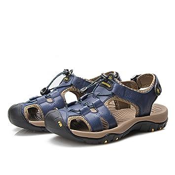 Xujw--shoes Heren Sandalen Herren Echtes Leder Strand Hausschuhe Casual Lace rutschfeste weiche flache Closed...