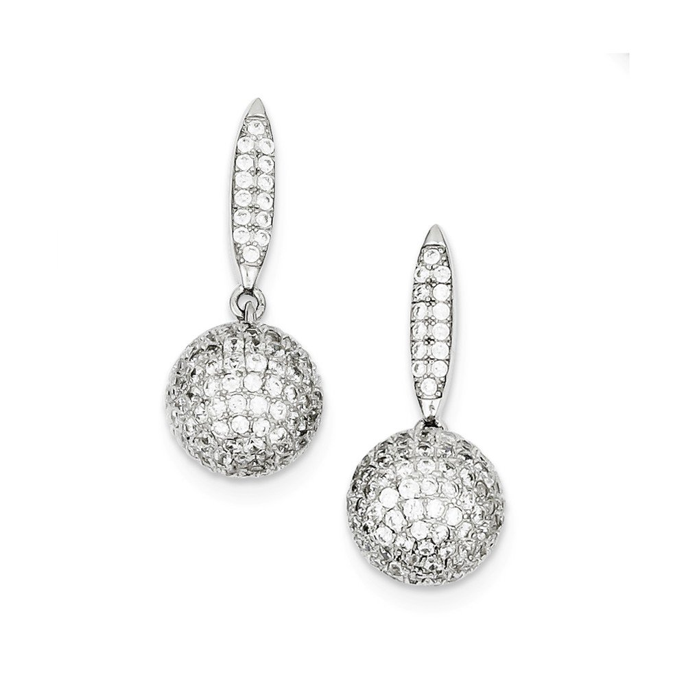 Sterling Silver Micro Pave Dangle 3-D Ball Post Earrings