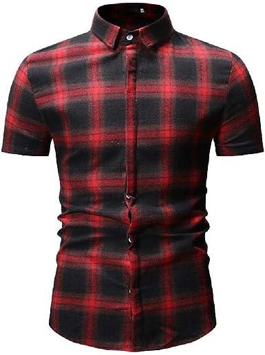 Camisa de manga corta para hombre de manga corta informal a cuadros: Amazon.es: Ropa y accesorios