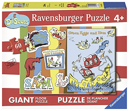 Ravensburger Dr. Seuss: Green Eggs & Ham Floor 60 Piece Jigsaw Puzzle for Kids – Every Piece is Unique, Pieces Fit Together Perfectly