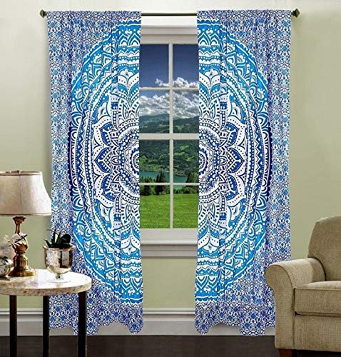 - Krati Exports Bohemian Beautiful Ombre Color Mandala Curtain Panels (Blue)