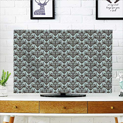Damask Flush (Auraisehome Dust Resistant Television Protector Damask Shapes Motif Western Modular Leaves and Rayon Curving Lines Creative Floral Design tv dust Cover W20 x H40 INCH/TV 40