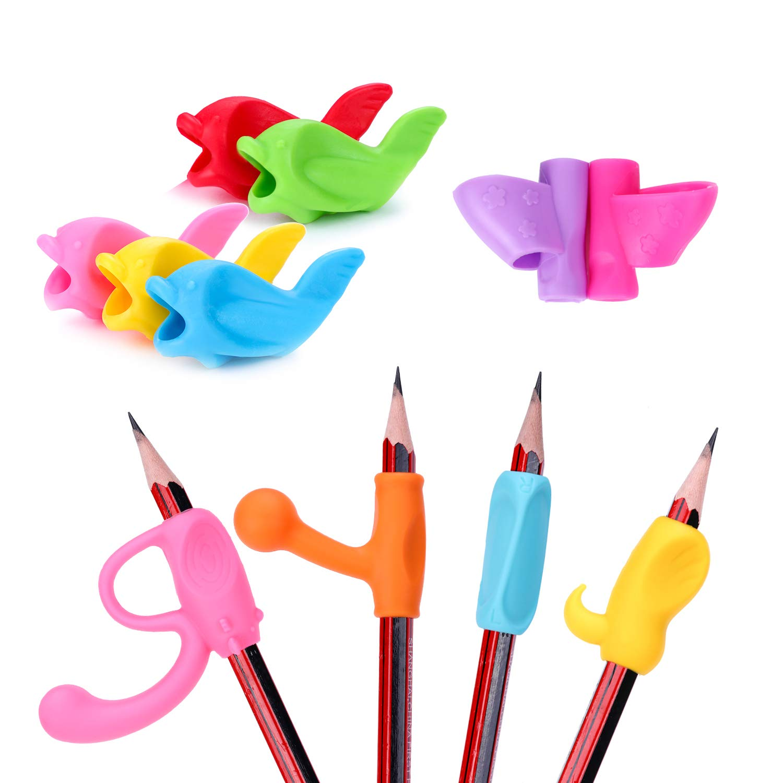 Pencil Grips, MEZETIHE Butterfly Fish Colorful Pencil Grip for Kindergarten Preschooler Kids Handwriting (11PCS)