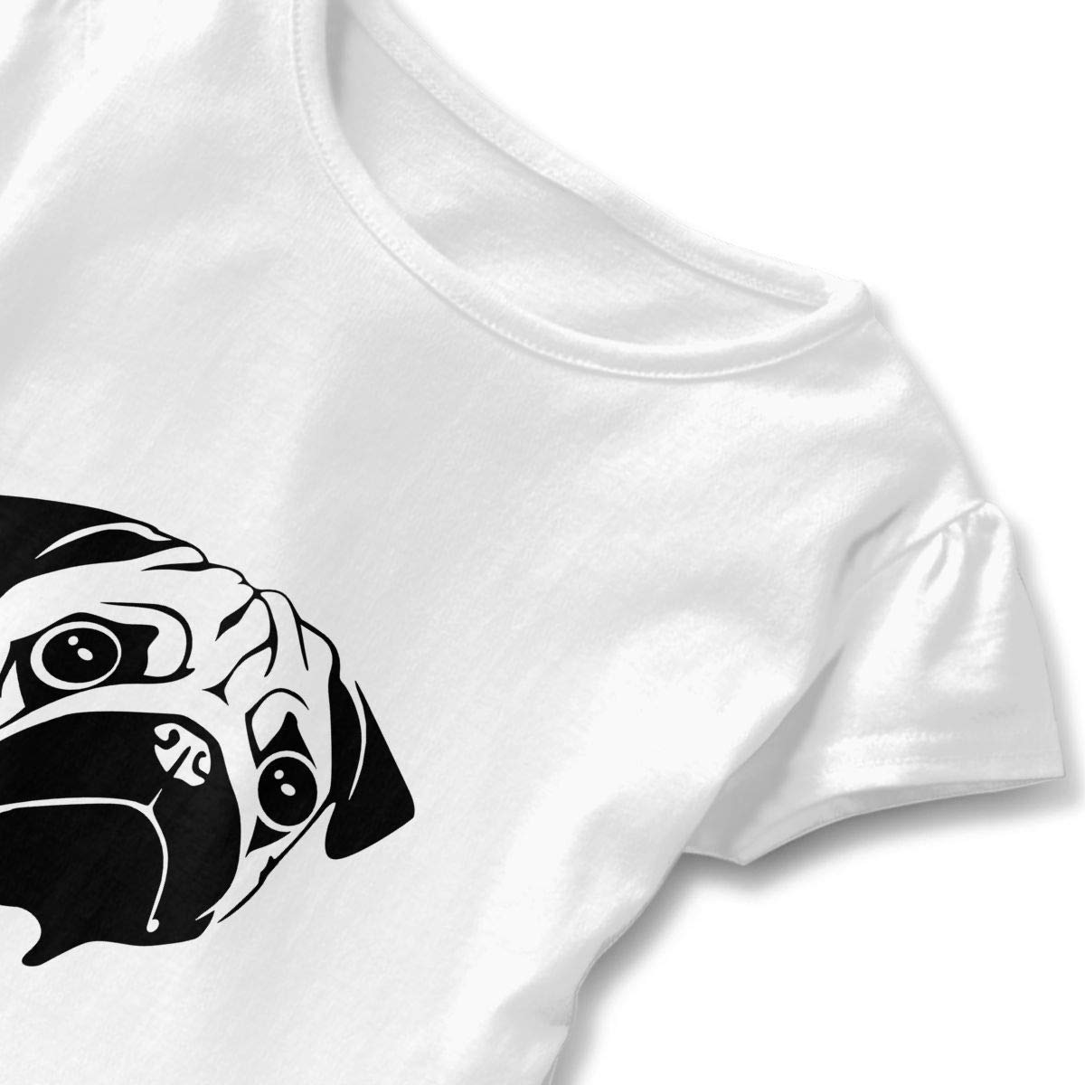 QUZtww Pug Face Raglan Cute Ruffle Tee Shirts Short Sleeves for Daily Party School Outside Playing