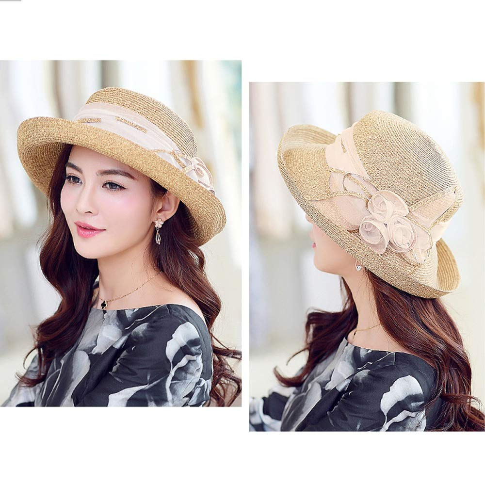 YD Hat - Straw Hat Ladies Summer Sun Visor Outdoor Travel UV Protection Sun Hat Sun Hat Cover Face Cool Hat (2 Colors) ## (Color : Beige) by YD-shop (Image #3)