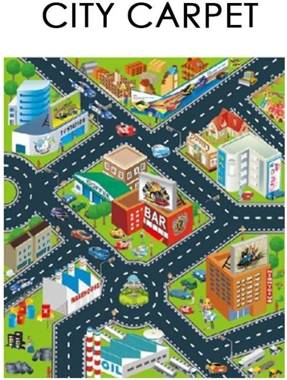 Tapis Circuit,pour Enfants Circuit De Voitures dans La Ville,Jeu Fun Baby Crawling Mat Tapis ...