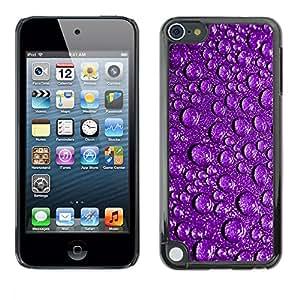 rígido protector delgado Shell Prima Delgada Casa Carcasa Funda Case Bandera Cover Armor para Apple iPod Touch 5 /Water Droplets Purple Reflective Drops Rain/ STRONG