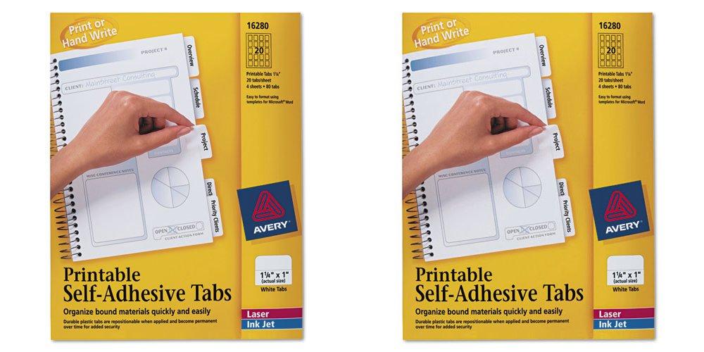 Avery Dennison Printable Self-Adhesive Tab 16280, 2 Packs