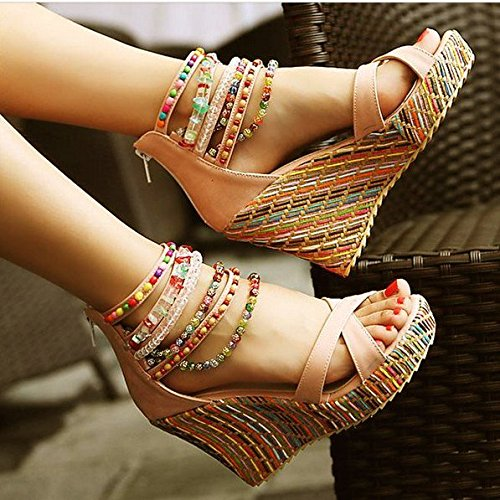 Women's Wedge Sandals with Pearls Across The Top Platform High Heels