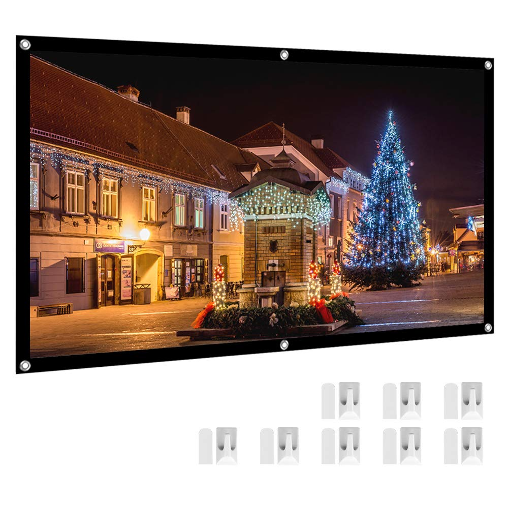 Projector Screen, HENZIN 120'' Inches 16:9 Portable Indoor Outdoor Projection Movie Screen Foldable Wall Mounted with Peel and Hooks (Anti-Crease, Easy to Clean, Support Double Sides Projection)
