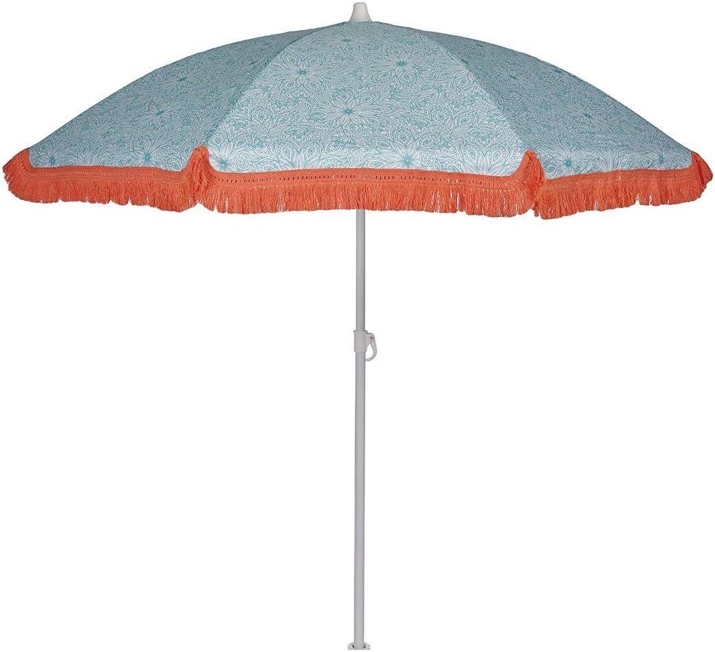 EZPELETA Sombrilla de Playa. Parasol de Playa. Ligero y Plegable de Acero. Paraguas Sol 160cm. Protección Solar UPF 50+. Estampado Flores/Cuadros/Rayas. Incluye Funda/Bolsa. - Flores-Azul