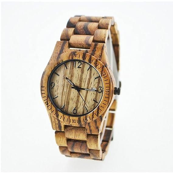 Hombres del reloj Natural hecho a mano calander color de vetas de madera de cuarzo reloj de pulsera, reloj de madera para los hombres y las mujeres: ...