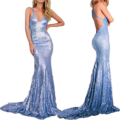 Shushaliying Womens 2018 Sequin Sexy Halter Homecoming Dress Prom Gown Train Mermaid Evening Dress Blue,