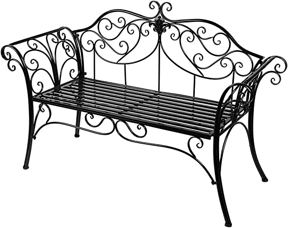 HLC Black Outdoor Romance Two Seat Bench