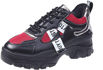 Armfre Womens Leather Sneakers Lace up Chunky Platform Flats Low Cut Sneaker Waterproof Anti-Slip Rubber Sole Comfy Walking Shoes Fashion Casual Sneaker