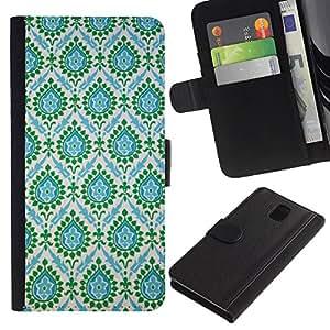 Paccase / Billetera de Cuero Caso del tirón Titular de la tarjeta Carcasa Funda para - Indian Vintage Teal Blue - Samsung Galaxy Note 3 III N9000 N9002 N9005