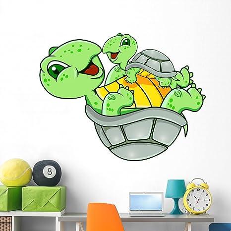 Amazon.com: Madre y bebé tortuga calcomanía de pared ...
