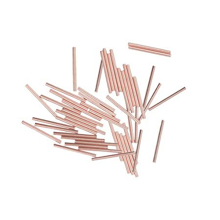100Pcs Smooth Rosegold Silver Long Tube Spacer Jewelry Making Beads 20x1.5mm