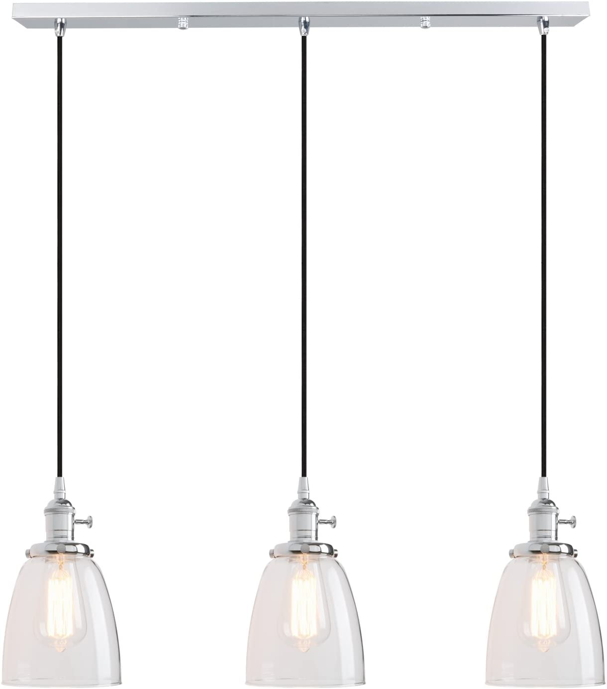 Pathson Industrial Vintage Loft Bar Kitchen Ceiling Pendant Lights Fittings Cluster Chandelier Glass Lampshade Hanging 3 Lights Fixture for Island Living Room Dining Room Bedroom Office (Chrome)