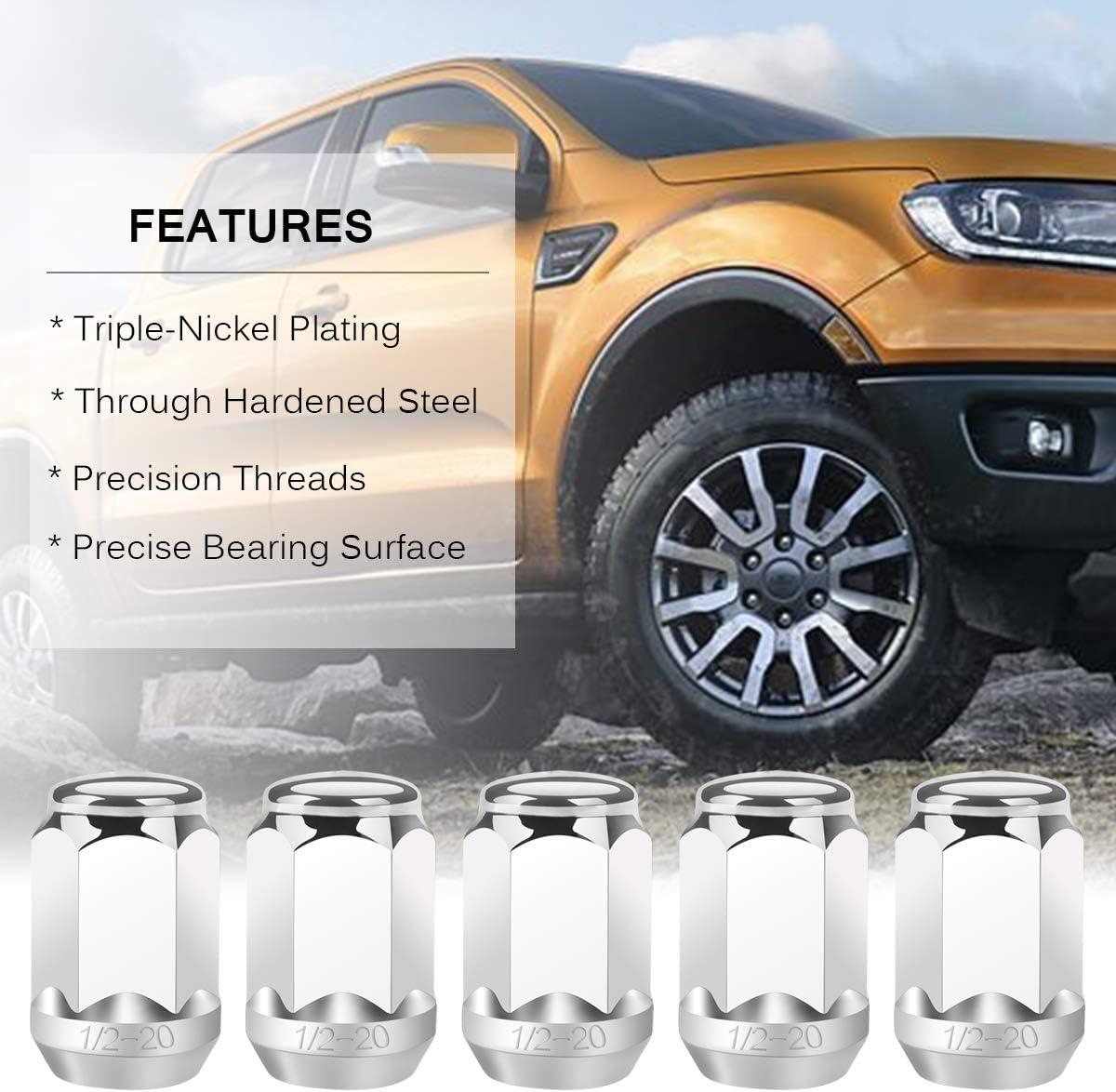 Compatible for Jeep Wrangler TJ YJ CJ JK Trucks Ford Mustang Ranger Dodge Ram 20Pcs PUENGSI Wheel Lug Nuts 1//2 x 20 1.38 Tall 3//4 Hex Chrome Bulge Acorn Lug Nuts