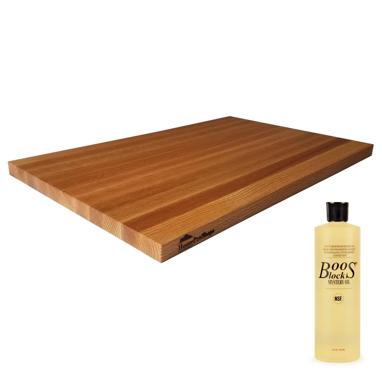 Wood Shelf Platform ONLY - 3/4'' x 12'' x 19'' - For Revashelf RAS-ML-HDCR Heavy Duty Mixer Lift - Red Oak Butcher Block - w John Boos MYSB Mystery Oil 16 oz Bottle Included - Trimmable