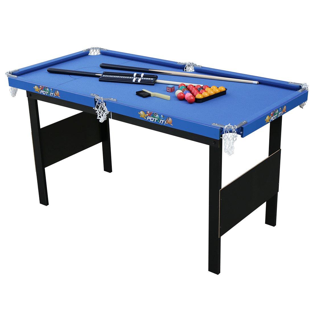 HLC Mini Billardtisch Pooltisch Snookertisch Tischspiel Blau 122 x 61 x 64 CM