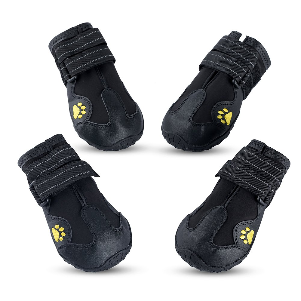 Piggypet Waterproof Shoes for Dogs, Hiking Boots for Dogs with Non Slip Sole, Summer Black Dog Running Shoes Winter Snow Boots for Medium Large Dogs, All Weather Paw Protector 4pcs