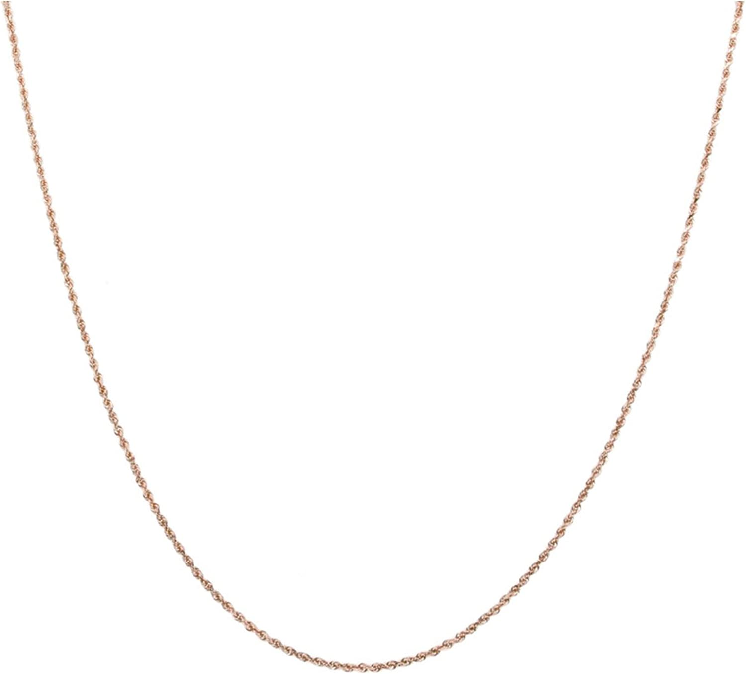 """14K Gold 0.75MM Thin Rope Chain Necklace- Available in Yellow, White or Rose-14""""-18"""""""