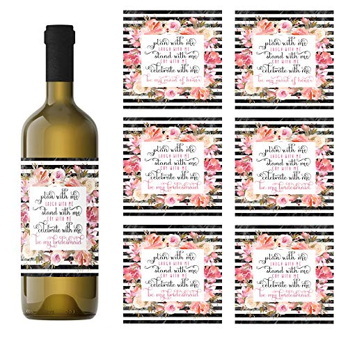 (Black Stripe and Floral Bridesmaid Wine Bottle Labels Set of 7 (2 Maid of Honor and 5 Bridesmaid) Asking My Best)