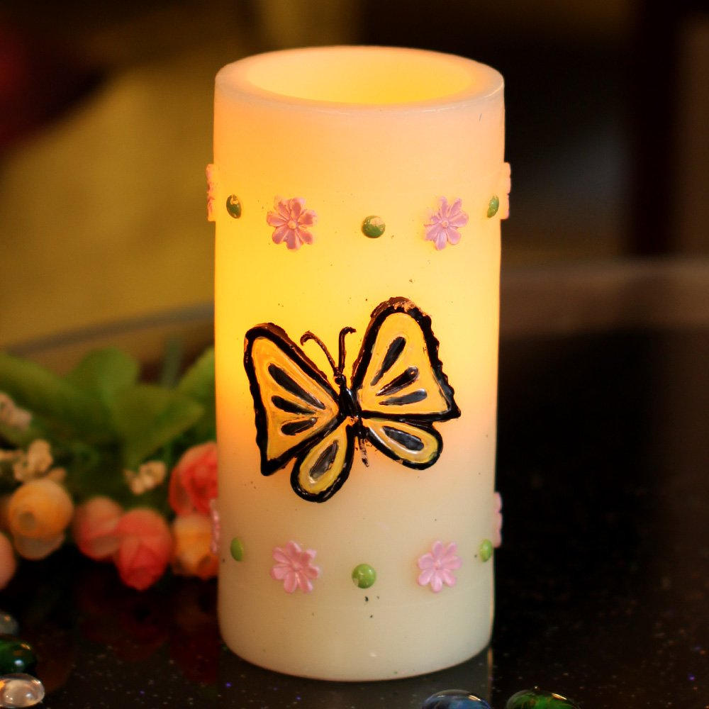 3x5 Flameless Real Wax Butterfly Candle With Timer,Battery-Operated HOME IMPRESSIONS DFL