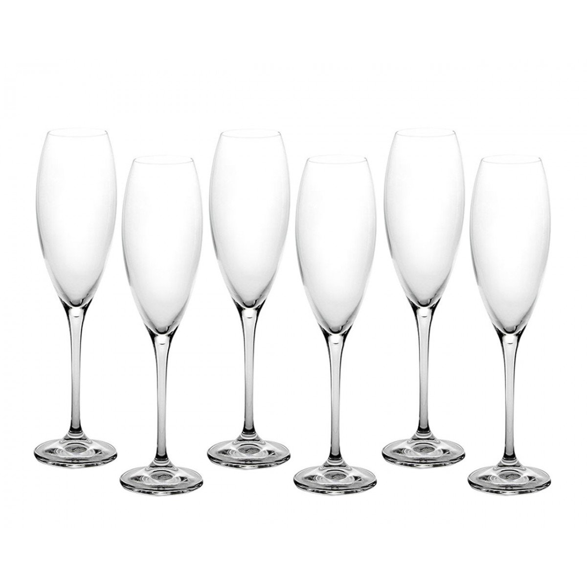 Bohemia Crystal Set of 6 Cecilia Champagne Glasses 290ml 10.2oz Clear Glass Wine Flutes Ideal Gift for Parties SIX PACK