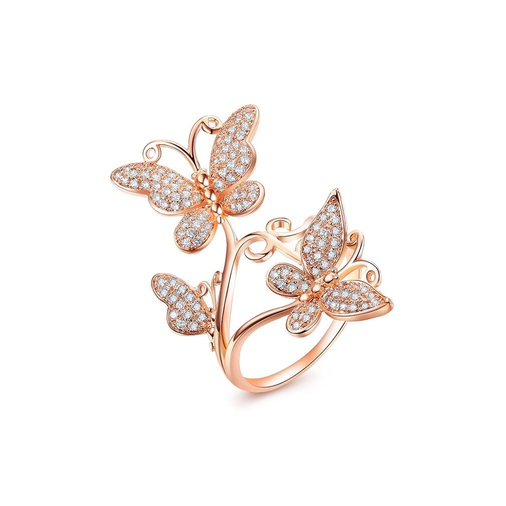 Bella Lotus Delicate Butterflies 18k Rose Gold Plated CZ Paved Rings, Size 6.5