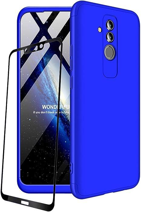 JOYTAG compatibles para Funda Huawei Mate 20 Lite Carcasa +Protectora de película de Vidrio Templado 360 Grados Ultra Delgado 3 en 1 Case-Azul: Amazon.es: Electrónica