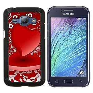 TECHCASE---Cubierta de la caja de protección para la piel dura ** Samsung Galaxy J1 J100 ** --D corazón rojo