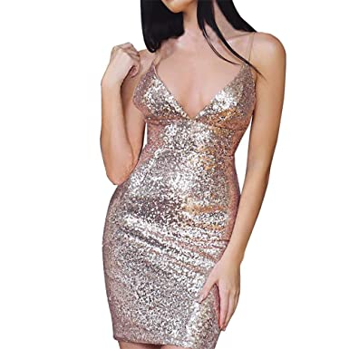 0f9efba0 Anglewolf Sexy Women Bandage Bodycon Dress V-Neck Bling Sequins Camis  Backless Mini Split Dress Nightwear Clubwear Fashion Sexy Party Dress:  Amazon.co.uk: ...