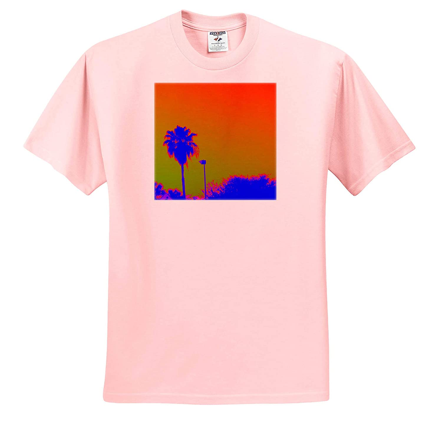 3dRose Lens Art by Florene T-Shirts Floral and Tree Abstracts Image of Blue Neon Palm with Orange Green Sky
