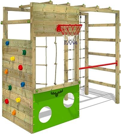 FATMOOSE Parque infantil de madera CleverClimber, Área de juegos da exterior, Escalera Sueco con pared de escalada para niños: Amazon.es: Juguetes y juegos