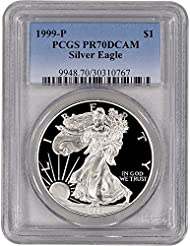 1999 P American Silver Eagle Proof $1 PR70 DCAM PCGS