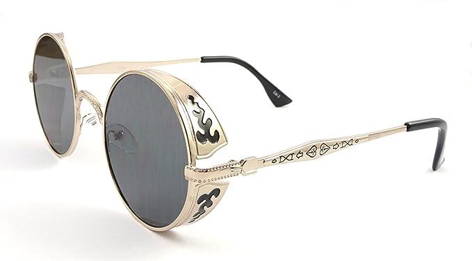 Ultra Black mit schwarzen Linsen Steampunk Sonnenbrille 50er Jahre Brillen Runde mit UV400 Schutz Cyber Goggles Goth Vintage ygtDPi