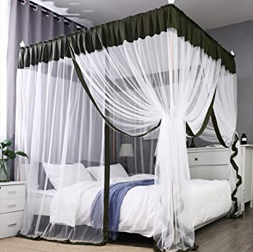 Mengersi Simple 4 Corners Post Curtain Bed Canopy Bed Frame Canopies Net Bedroom Decoration Full Olive And White