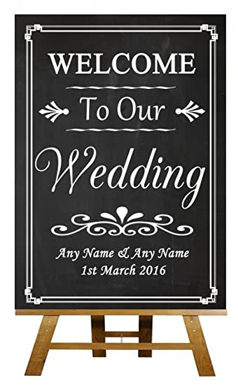Chalkboard Style Welcome To Our Wedding Personalized Sign