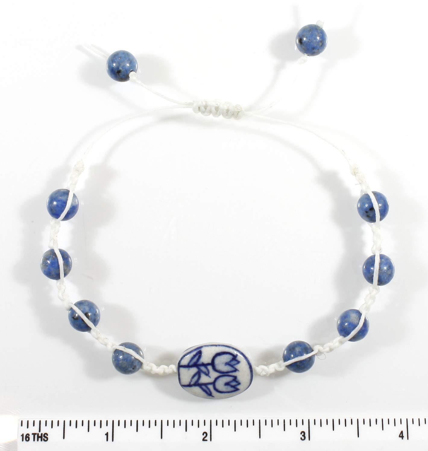 Dutch Blue and White Adjustable Hand-painted Porcelain Shamballa Bracelet with Lapis Lazuli